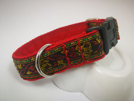 Hundehalsband mit Acetal-Klickverschluss Brokatborte Rosenmuster gold/rot/grün
