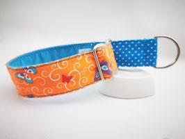 """Martingal-/Zugstopp-Halsband """"Hybrid-Schmetterlinge-orange mit Pünktchen in blau"""""""