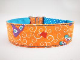 """Hundehalsband mit Klickverschluss """"Schmetterlinge-orange"""""""