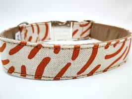 """Hundehalsband mit Klickverschluss """"Leinenlook-Abstract-Beige-kupfer"""""""