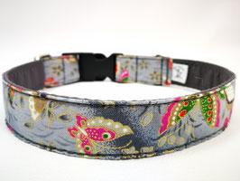 """Hundehalsband mit Klickverschluss """"Schmetterlinge-grau"""""""