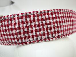 """Zugstopp-/Martingale-Halsband """"Karo rot-weiß"""""""