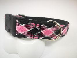 """Hundehalsband mit Acetal-Klickverschluss Webband """"Karo pink"""""""
