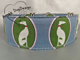 """Hundehalsband mit Klickverschluss Windhund-Motiv """"grün-blau """""""