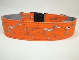 """Hundehalsband mit Klickverschluss Windhund-Motiv """"orange """""""