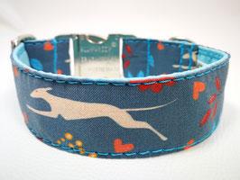 """Hundehalsband mit Klickverschluss Windhund-Motiv """"Windi Laufhund blau """""""