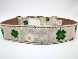 """Hundehalsband mit Klickverschluss """"Leinenlook-Glücksklee"""""""