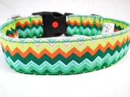 """Hundehalsband mit Klickverschluss """"Zickzack grün-multi"""""""