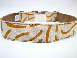"""Hundehalsband mit Klickverschluss """"Leinenlook-Abstract-Beige-curry"""""""