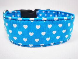 """Hundehalsband mit Klickverschluss """"Herzen-blau"""""""