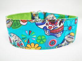 "Hundehalsband mit Klickverschluss ""Skull/Totenkopf-blau"""
