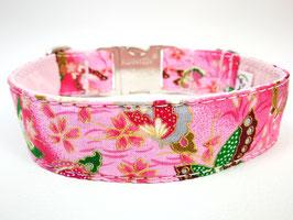"""Hundehalsband mit Klickverschluss """"Schmetterlinge-pink"""""""