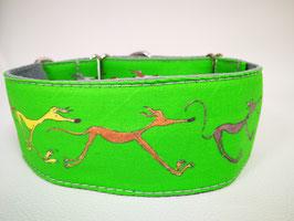 """Martingal-/Zugstopp-Halsband mit Windhund-Motiv """"grün"""""""