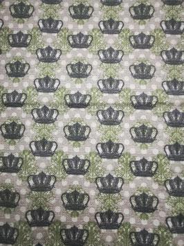 """Hundehalsband mit Klickverschluss """"Krönchen-grün-grau"""""""