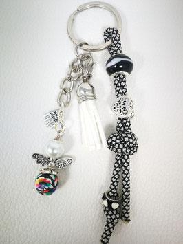 Schlüsselanhänger aus Paracord schwarz/weiß