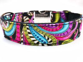 """Hundehalsband mit Klickverschluss """"Paisley-Style-schwarz-pink"""""""