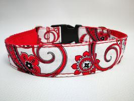 """Hundehalsband mit Klickverschluss """"Paisley-weiß-rot"""""""