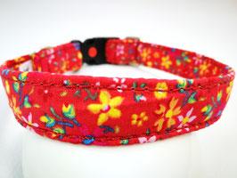 """Hundehalsband mit Klickverschluss """"Streublumen rot"""""""