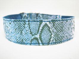 "Zugstopp-/Martingal-Halsband ""Animal-Print-Snake-blau"""
