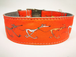 "Martingal-/Zugstopp-Halsband mit Windhund-Motiv ""rot"""