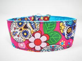 "Hundehalsband mit Klickverschluss ""Skull/Totenkopf-pink"""