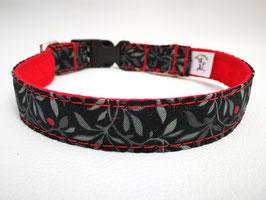 """Hundehalsband mit Klickverschluss """"Blätterzweige-schwarz-rot"""""""