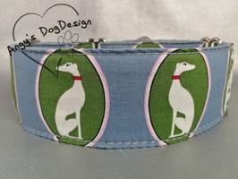 """Martingale-/Zugstopp-Halsband mit Windhund-Motiv """"grün-blau"""""""