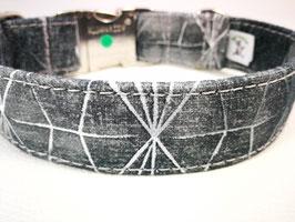 """Hundehalsband mit Klickverschluss """"Geogitter-grau"""""""