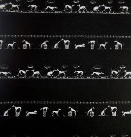 """Hundehalsband mit Klickverschluss Windhund-Motiv """"Black & White"""""""