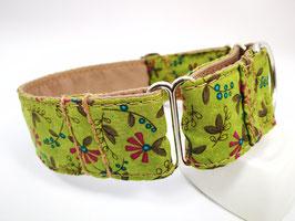 """Martingal-/Zugstopp-Halsband """"Blütenzweige-grün-beere"""""""