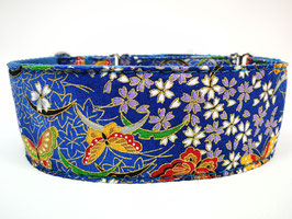 "Zugstopp-/Martingal-Halsband ""Schmetterlinge-blau"""