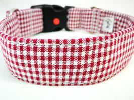 """Hundehalsband mit Klickverschluss """"Karo rot-weiß"""""""