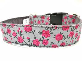 """Hundehalsband mit Klickverschluss """"Rosen-grau-pink"""""""