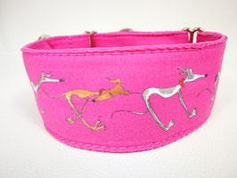 "Martingal-/Zugstopp-Halsband mit Windhund-Motiv ""pink"""