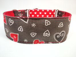 """Hundehalsband mit Klickverschluss """"Wintertraum mit Herzen"""""""