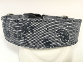 "Hundehalsband mit Klickverschluss ""Paisley blau-grau"""