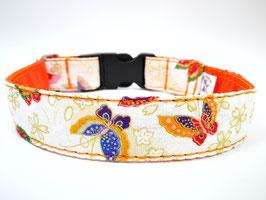 """Hundehalsband mit Klickverschluss """"Schmetterlinge-beige"""""""