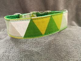 """Hundehalsband mit Klickverschluss """"Leinenlook Dreiecke-grün-gelb"""""""