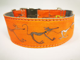 "Martingal-/Zugstopp-Halsband mit Windhund-Motiv ""orange"""