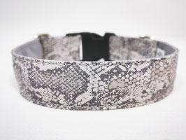 "Hundehalsband mit Klickverschluss ""Animal-Print-Snake-grau"""