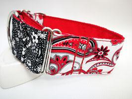 """Martingal-/Zugstopp-Halsband """"Hybrid-Paisley-weiß-rot/Blümchen-schwarz-weiß"""""""