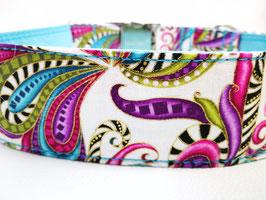 """Hundehalsband mit Klickverschluss """"Paisley-Style-weiß"""""""