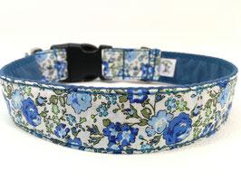 """Hundehalsband mit Klickverschluss """"Blümchen-blau-weiß"""""""