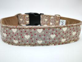"""Hundehalsband mit Klickverschluss """"Leinenlook-Herzen-beige"""""""