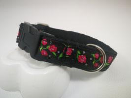 Hundehalsband mit Acetal-Klickverschluss  Webband Röschen
