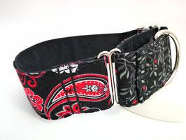 """Martingal-/Zugstopp-Halsband """"Hybrid-Paisley-schwarz-rot/Blätterzweige schwarz-rot"""""""