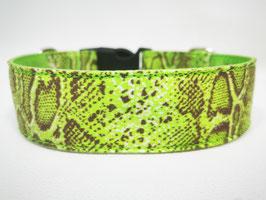 "Hundehalsband mit Klickverschluss ""Animal-Print-Snake-limette"""