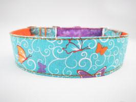 """Hundehalsband mit Klickverschluss """"Schmetterlinge-hellblau"""""""