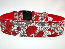 """Hundehalsband mit Klickverschluss """"Blumenmeer-rot"""""""