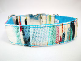 "Hundehalsband mit Klickverschluss ""Malerei-multi-blau"""